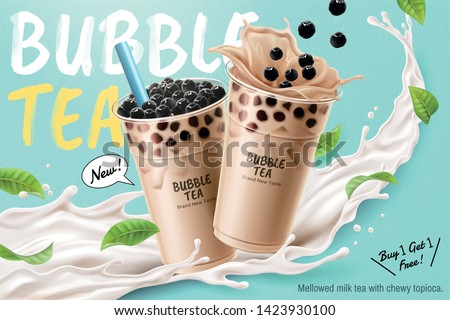 Bubble milk tea ads with delicious tapioca and splashing milk in 3d illustration #1423930100