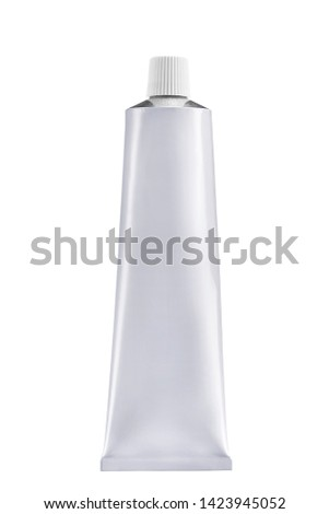 Blank White cosmetic tube pack Of Cream Or Gel isolated on white background. Royalty-Free Stock Photo #1423945052