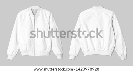 Blank jacket bomber white color in front and back view isolated on white background, ready for mockup template, presentation, preview your design projeck  #1423978928
