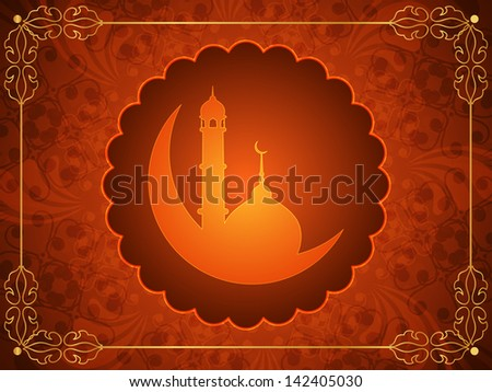 Classic brown color religious eid background with mosque and golden frame. vector illustration #142405030