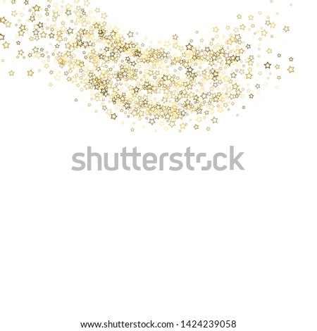 Gold Glitter Stars. Luxury Shiny Confetti. Scattered little sparkle. Flash glow silver, elements. Random magic tiny light. Gold stellar fall white background. New Year, Christmas Vector illustration. #1424239058
