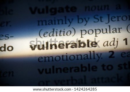 vulnerable word in a dictionary. vulnerable concept, definition. #1424264285
