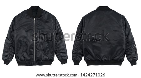 Bomber jacket black color in front and back view isolated on white background. Royalty-Free Stock Photo #1424271026