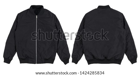 Bomber jacket black color in front and back view isolated on white background. Royalty-Free Stock Photo #1424285834