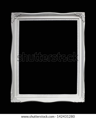 Retro white wooden frame isolated with clipping path included #142431280