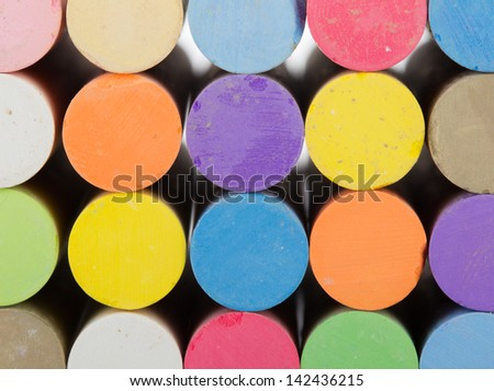 Stacked colorful chalk sticks #142436215