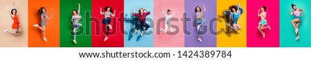 Collage of ten charming glad carefree nice attractive shiny modern delightful girls millennials person youngsters having good mood flying air isolated over colorful background travel summer concept #1424389784