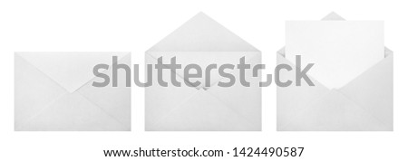 Set of white envelopes (sealed, empty and with a blank paper inside), isolated on white background #1424490587