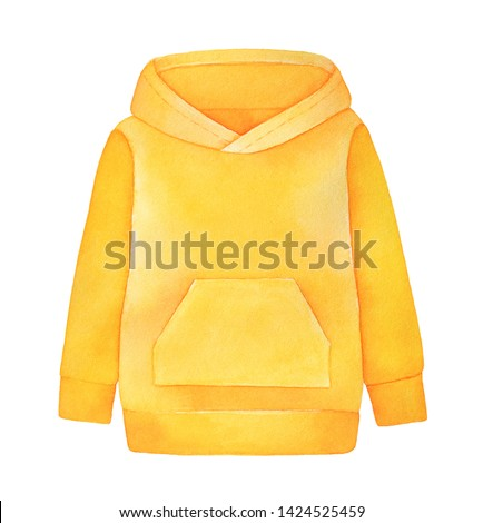 Casual hooded sweatshirt (hoodie) with long sleeves and big front pocket. Bright yellow color. Handdrawn watercolour graphic paint on white background, cutout clip art element for design decoration.