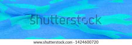Texture, background, cotton fabric thin blue with a print of squirrels, martens, sables. Pattern, Decor, Textile, Art, with this fabric you immerse yourself in the world of Rokashi and prosperity #1424600720