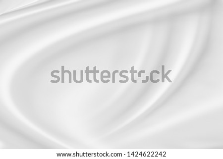 White fabric, cloth wave texture background, Empty space. / Soft image. #1424622242