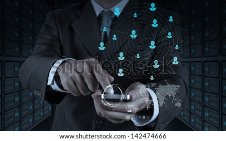 businessman hand use smart phone computer with email icon as concept #142474666