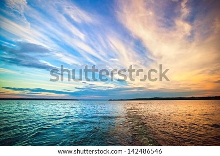 Sky background on sunset. Nature composition #142486546