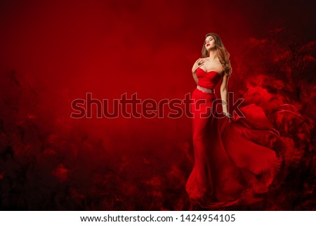 Beautiful Fashion Model in Red Dress, Woman Beauty Portrait, Elegant Lady in Long Sexy Gown #1424954105