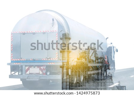Gas Truck on highway road with tank oil  container, transportation concept.,import,export logistic industrial Transporting Land transport on the asphalt expressway.White background #1424975873