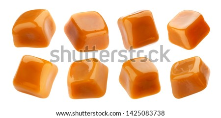 Toffee candy, caramel candies isolated on white background with clipping path, collection #1425083738
