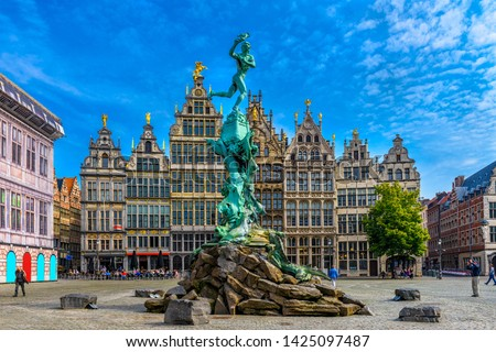 The Grote Markt (Great Market Square) of Antwerpen (Antwerp), Belgium. It is a town square situated in the heart of the old city quarter of Antwerpen. Cityscape of Antwerp. #1425097487