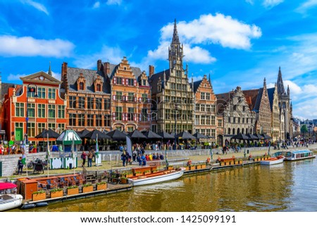 View of Graslei quay and Leie river in the historic city center in Ghent (Gent), Belgium. Architecture and landmark of Ghent. Cityscape of Ghent. #1425099191