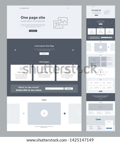 Landing page website design template for business. One page wireframe. Flat modern responsive design. Ux ui website template. Concept mockup layout for development. Best convert page. #1425147149