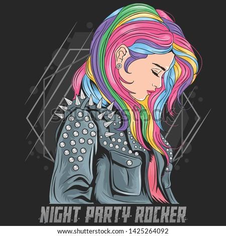 GIRL UNICORN FULL COLOUR HAIR WITH ROCKER JACKET PUNKER STYLE VECTOR EPS TSHIRT ARTWORK