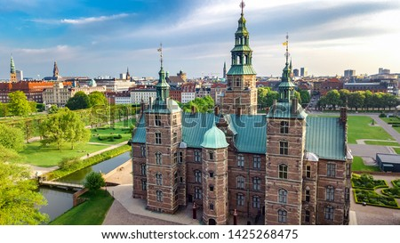 Aerial drone view of Rosenborg Slot Castle and beautiful garden from above, Kongens Have park in Copenhagen, Denmark #1425268475