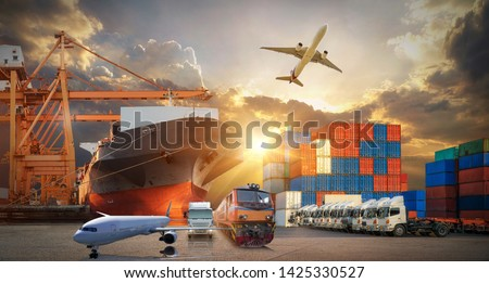 Global business of Container Cargo freight train for Business logistics concept, Air cargo trucking, Rail transportation and maritime shipping, Online goods orders worldwide #1425330527