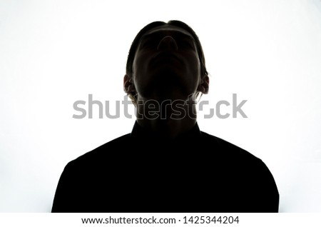Upper body man silhouette. White background. #1425344204