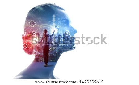 AI (Artificial Intelligence) concept. Communication network. #1425355619