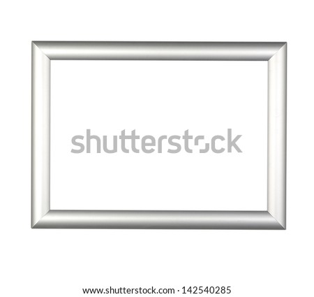 Modern silver Frame on white ( clipping path)