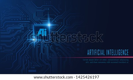 Ai chipset on circuit board in futuristic concept suitable for future technology artwork , Responsive web banner