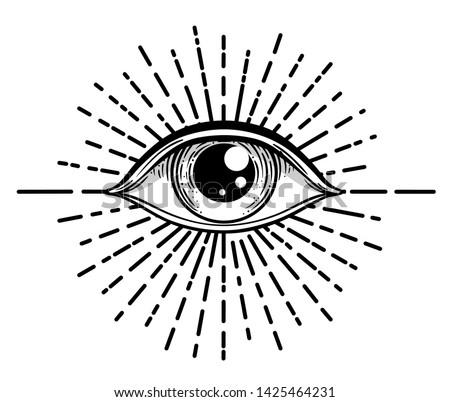 Blackwork tattoo flash. Eye of Providence. Masonic symbol. All seeing eye inside triangle pyramid. New World Order. Sacred geometry, religion, spirituality, occultism. Isolated vector illustration #1425464231