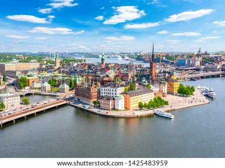 Stockholm old town (Gamla Stan) panorama from City Hall top, Sweden #1425483959