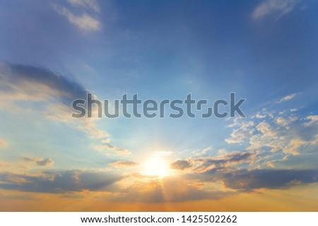 evening cloudy sky at the sunset #1425502262