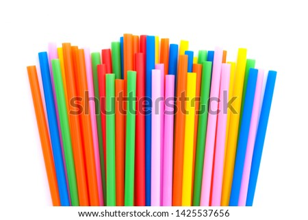 Colorful straw , isolated on white background #1425537656