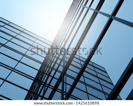 3D stimulate of high rise glass building and dark steel window system on blue clear sky background,Business concept of future architecture,lookup to the angle of the corner building. #1425610898