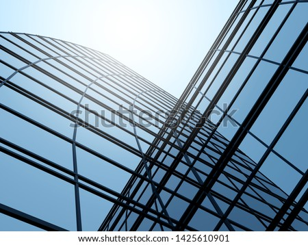 3D stimulate of high rise glass building and dark steel window system on blue clear sky background,Business concept of future architecture,lookup to the angle of the corner building. #1425610901