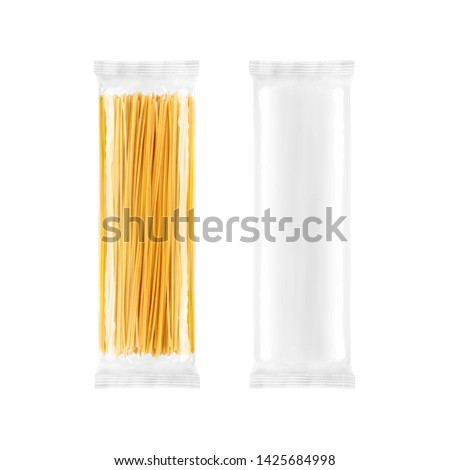 Spaghetti pasta transparent plastic bag package, isolated on white background. Packaging template mockup collection. #1425684998