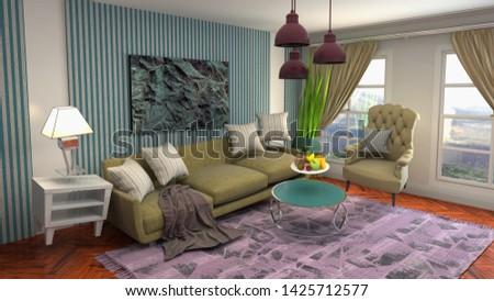 Zero Gravity Sofa hovering in living room. 3D Illustration #1425712577