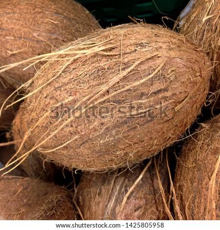 Macro Photo food fruit coconut. Texture tropical fruit coconut nut. Image fruit coconuts #1425805958