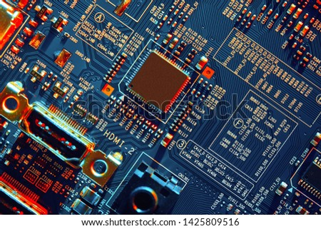 Electronic circuit board close up. #1425809516