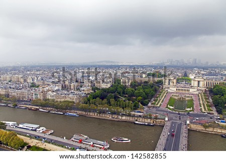 Paris. View of the city in the foggy cloudy morning #142582855