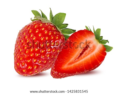 Fresh strawberry isolated on white background with clipping path #1425831545