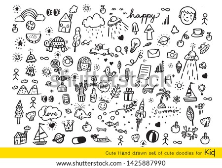 Vector illustration of Doodle cute for kid, Hand drawn set of cute doodles for decoration,Funny Doodle Hand Drawn,Summer, Doodle set of objects from a child's life #1425887990