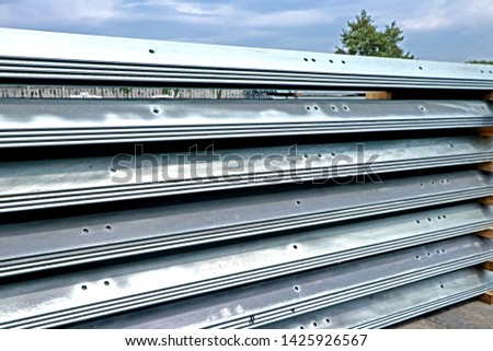 SARABURI-THAILAND-NOVEMBER 1 : Hot-dip galvanized steel member for steel tower in transmission line at steel factory, November 1, 2017 Saraburi Province, Thailand #1425926567