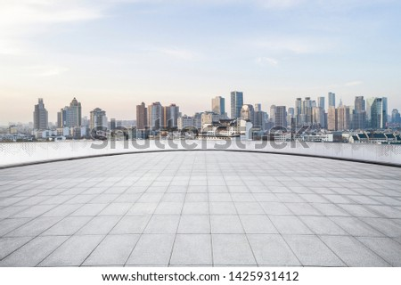 Panoramic skyline with empty road #1425931412