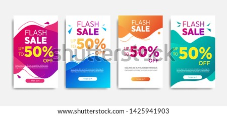 Sale banner template with Dynamic modern design fluid mobile. flash sale banners. special offer set #1425941903