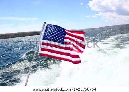 American Flag on a Boat Travel time pic