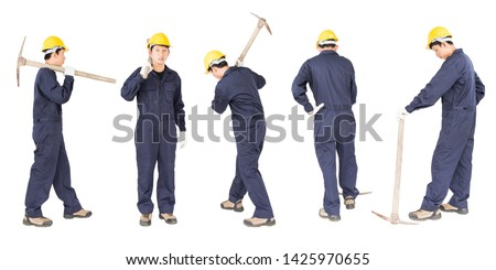 Set of Young man in uniform hold old pick mattock that is a mining device, Cut out isolated on white background #1425970655
