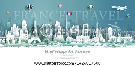 France architecture travel with sailboat and gondola, Landmarks of paris in French country, Tour cityscape with panorama view and French flag, Origami paper cut style for travel poster and postcard. #1426017500