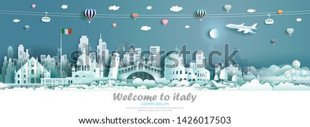 Vector illustration tour Italy architecture famous landmarks of europe, Travel skyline downtown culture with Italy flag and modern building, Travelling by balloon, sailboat, plane and cable car. #1426017503
